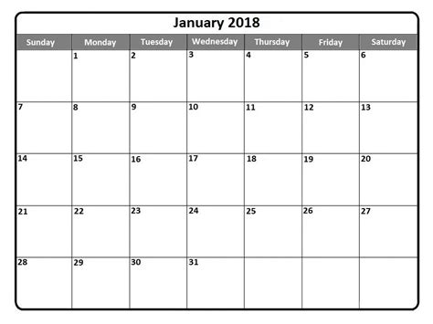 printable january 2018 calendar free january 2018 calendar printable holidays pdf word