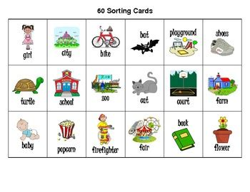 printable flash cards noun noun picture cards and recording sheets for sorting 2