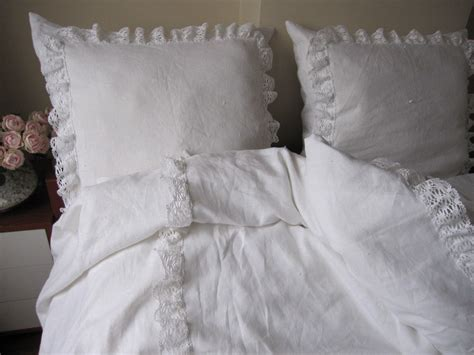 ruffled coverlet white linen king ruffled bedspread bobbin lace trim with euro