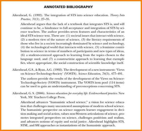 6 annotated bibliography apa format sle annotated