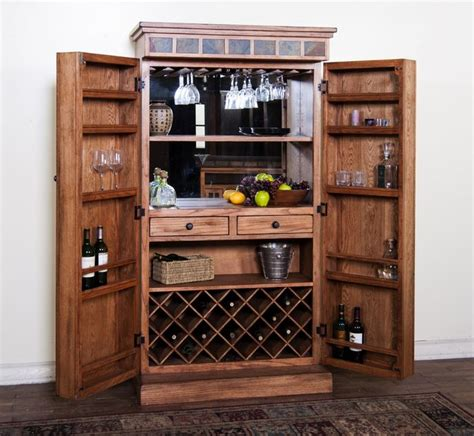 wine glass hangers cabinet sedona collection rustic oak finish wood bar armoire