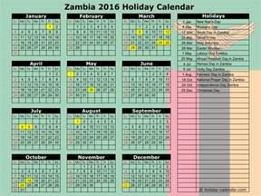 Zambia Calendã 2018 Zambia 2016 2017 Calendar