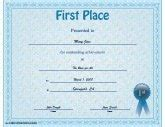 1st place certificate templates certificates of achievement free printable certificates