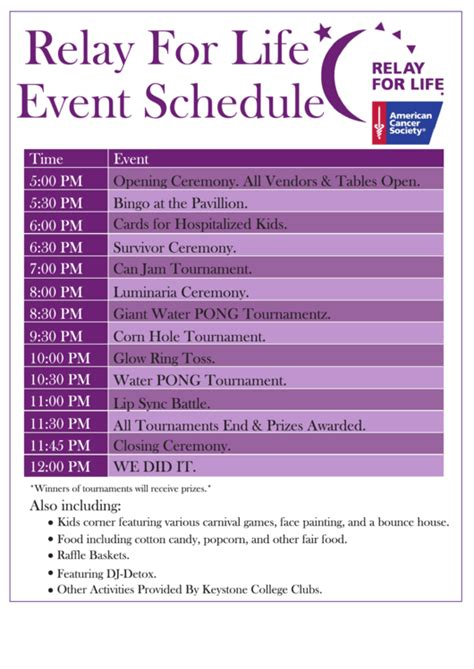 relay for walking schedule template 8 event schedule templates free to in pdf