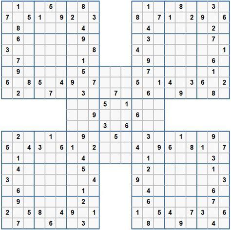 printable samurai sudoku grid samurai sudoku grids picture