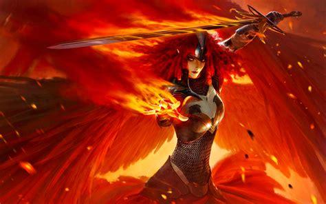 fantasy angel warrior wallpaper wizard mage warrior