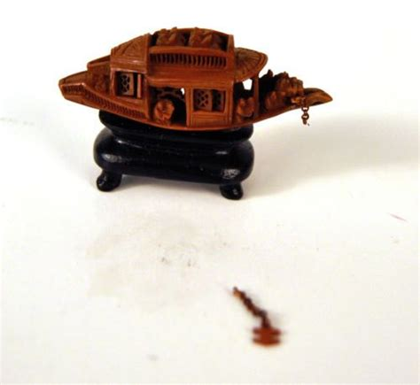 avocado seed boat chinese carved olive pit nut seed boat shutters anchor