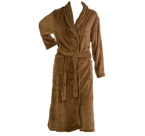 house coat slenderella thick soft fleece shawl collar dressing gown wrap around house coat
