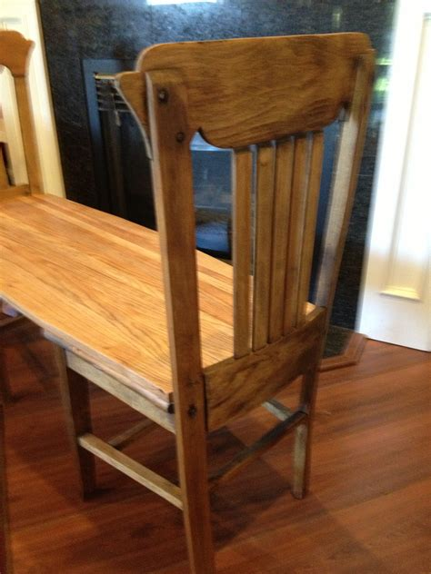 bench out of chairs hello again glenda i made this bench out of two old chairs
