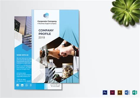 company profile bi fold brochure design template in psd