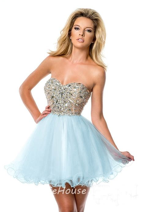 Puffy Strapless Short Mini White Tulle Beaded Cockatil Prom Dress Corset Back
