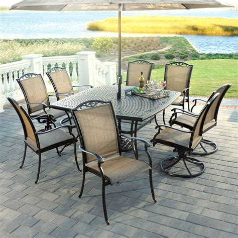 Deck Furniture Sets by 9 Piece Roma Aluminum Patio Dining Set By Agio Select