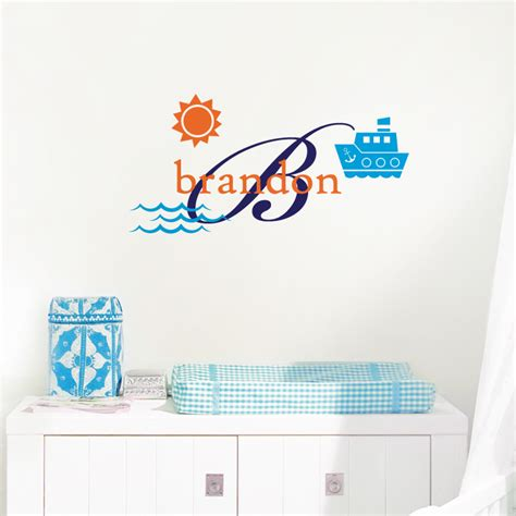 tugboat decal tug boat name initial personalized monogram wall