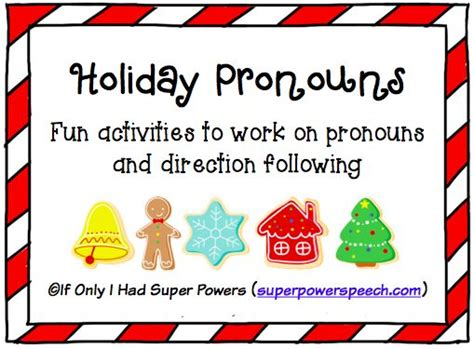 adorable holiday pronouns activity to work on pronouns and