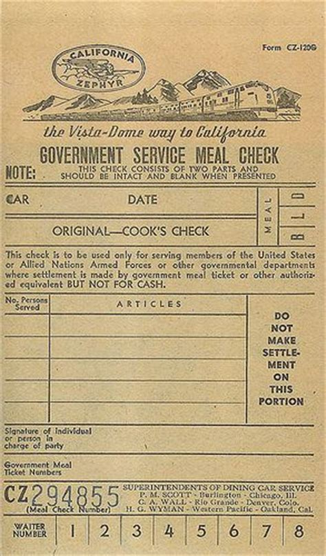 printable meal tickets california zephyr meal ticket by vintage roadside via