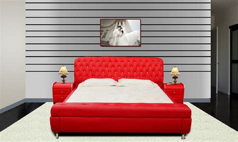 red bed soft green combine with white make your room look more