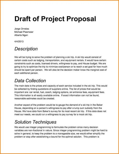 project proposal layout sle project project proposal template