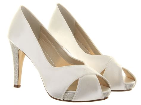 Wedding Shoes Size 11 Wide by Rainbow Club Safia Peep Toe Ivory Wide Satin Womens