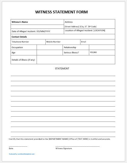 statement form template generic student witness statement forms ms word word