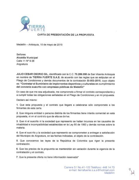 carta remisoria de la propuesta carta propuesta