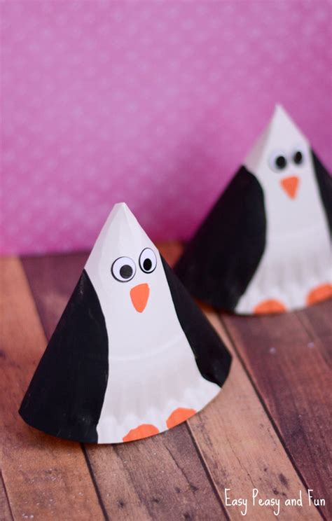 penguin paper craft paper plate penguin craft easy peasy and