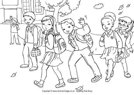 coloring pages for starting school walking to school colouring page
