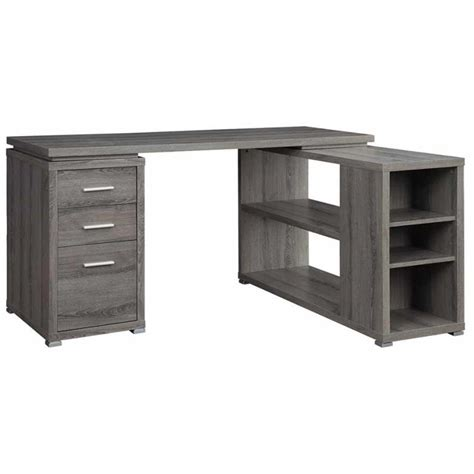 grey l shaped desk venetian worldwide monterey l shaped desk in weathered