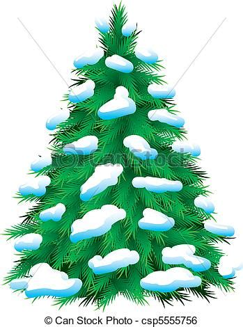Clip art vector of green fur tree covered with snow isolated christmas csp5555756 search