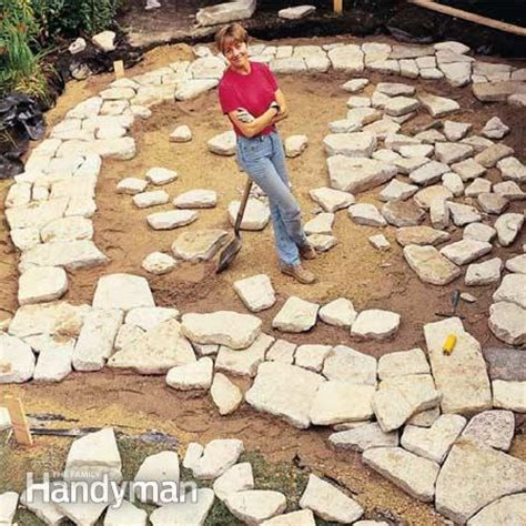 how to build a flagstone patio build a patio or brick patio the family handyman