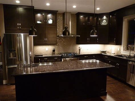 Kitchen Cabinets With Black Granite Countertops by Espresso Cabinets And Grey Brown Granite Countertops