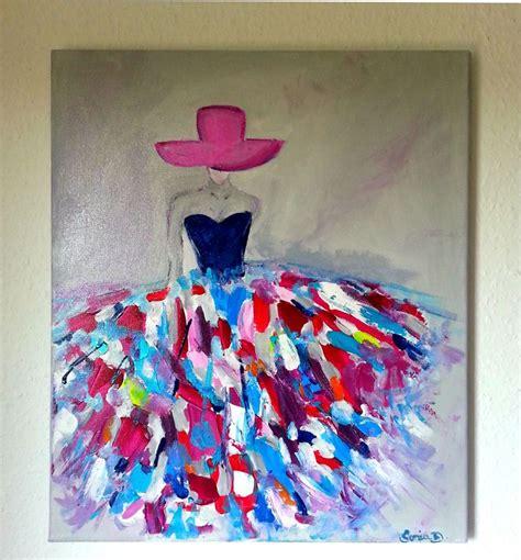tableau moderne femme robe coloree sur toile 55x46 toiles de peintures robes