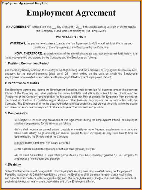 terms of employment contract template sle employment contract employment contract letter