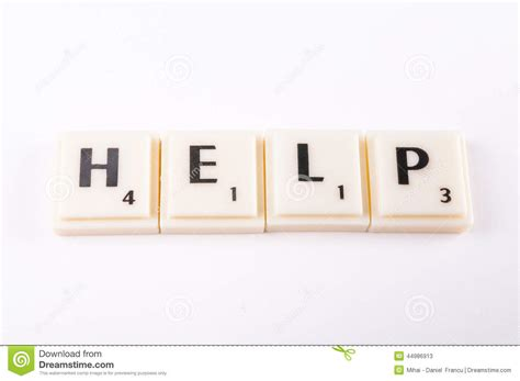 help with letters for scrabble help stock photo image 44986913