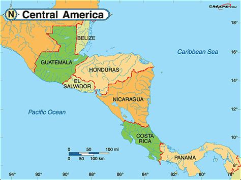 map of usa mexico and central america obryadii00 political map of mexico and central america