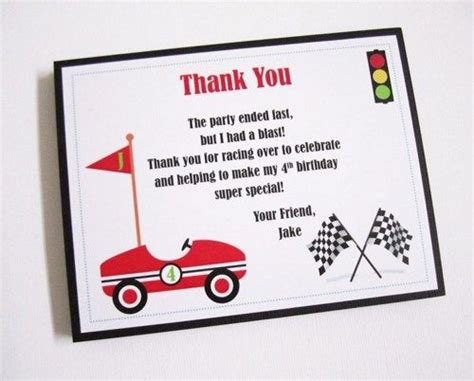Thank You Letter For Coming To Race Car Thank You Cards For Boys Birthday Cars My Birthday And Note