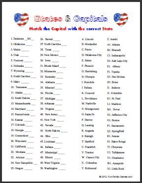 printable quiz states and capitals united states trivia challenge will test your knowledge of