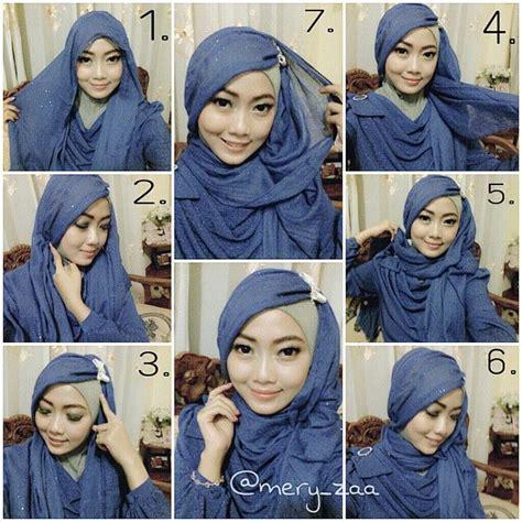 tutorial kerudung pashmina sifon cara memakai jilbab pashmina sifon polos