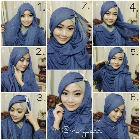 tutorial gambar jilbab cara memakai jilbab pashmina sifon polos