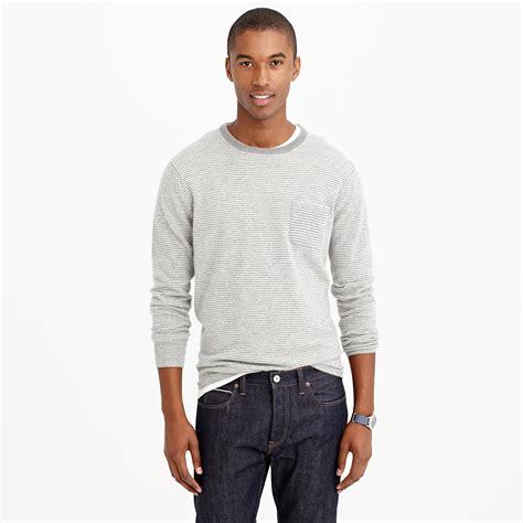 Pocket Sweater j crew italian pocket sweater in microstripe in gray for hthr grey lyst