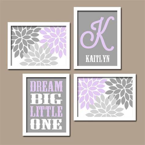 lilac gray nursery baby girl wall art canvas  prints