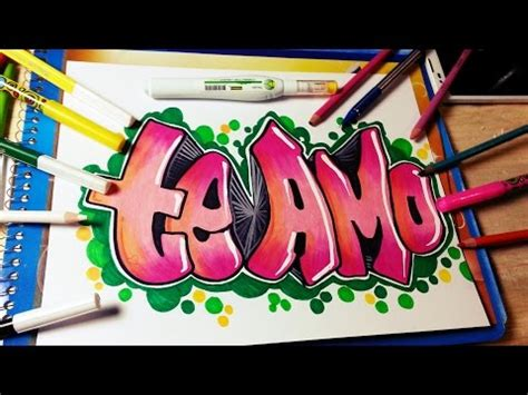 imagenes de te extraño en graffiti como hacer un graffiti te amo speed drawing fer