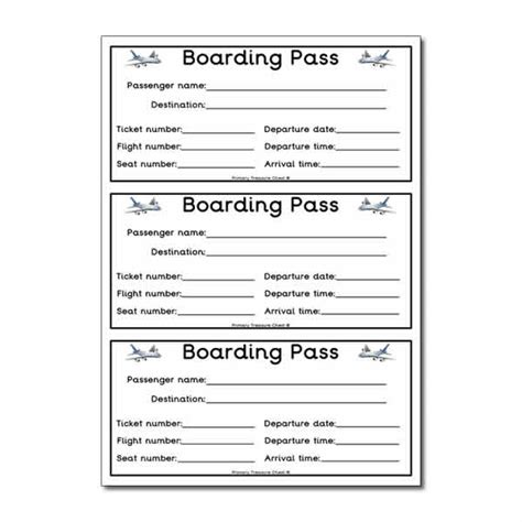 printable bus tickets for role play flight boarding pass worksheet classroom decoration