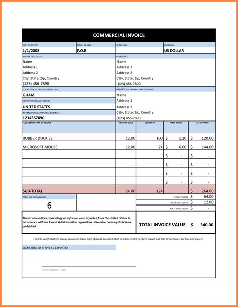 Templates For Invoices Free Excel by 7 Commercial Invoice Sle Excel Invoice Template