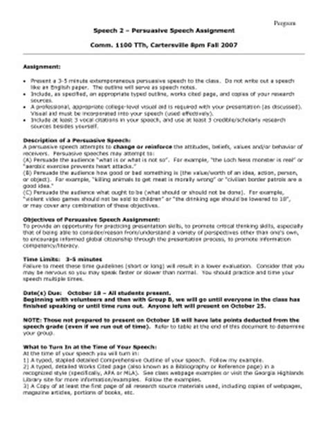 Persuasive Essay Exercises by Sle Persuasive Speech On Exercise Sample Outline For A Persuasive Speech By Tom