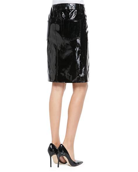 tamara mellon patent leather pencil skirt black