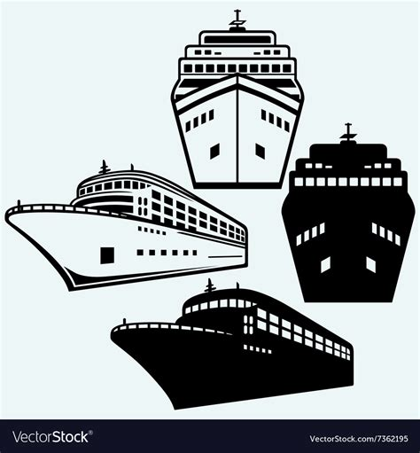big boat outline big cruise ship royalty free vector image vectorstock