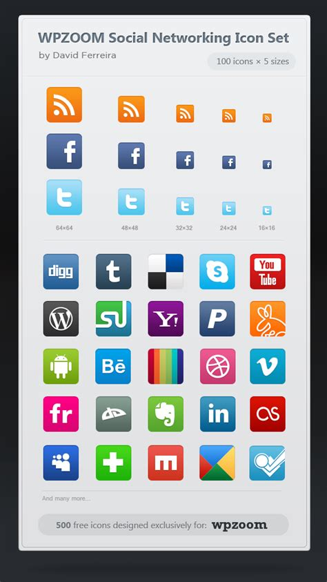 free sosial network icon 500 free icons wpzoom social networking icon set