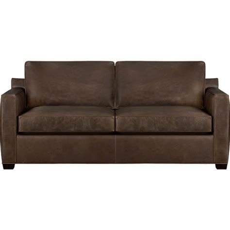 leather sleeper couches davis leather queen sleeper sofa cashew crate and barrel