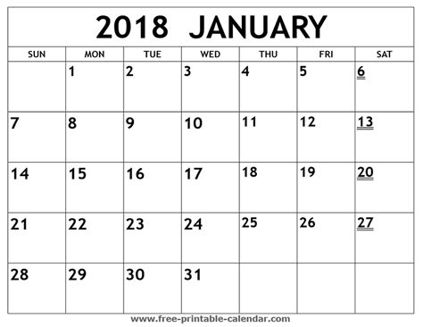 Printable 2018 January Calendar Free Printable Calendars Free Printable Calendar January Monthly Calendar Template