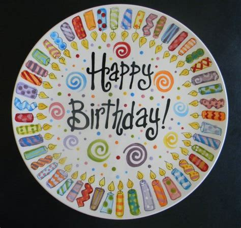 candle family birthday plate 10 inch ceramic plate